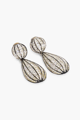 Round Disk Linear Drop Round Earrings
