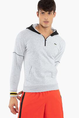 Hooded Contrast Fleece Sweatshirt
