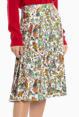 Contrast Binding Pleated Skirt