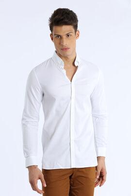 قميص قطن مرن ذو قصة ضيقة