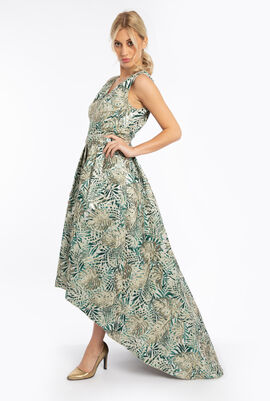 Palm Jacquard Sleeveless Dress