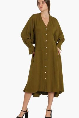Crinkled Long Sleeves Dress
