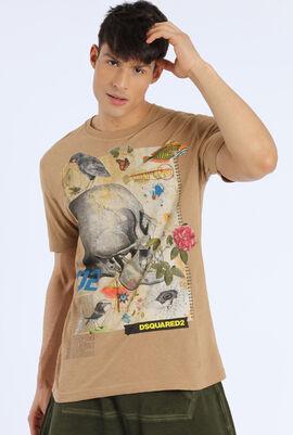 Men's Brown Printed T-Shirt