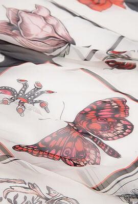 Butterfly, Flower Print Scarf
