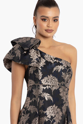Gown with One Shoulder Detail Dress
