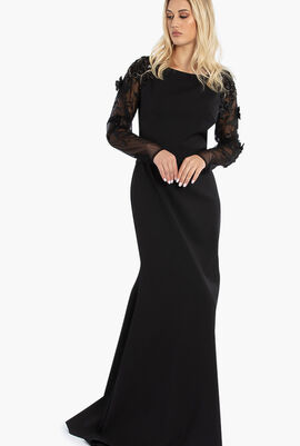 Embroidery Details Crepe Gown