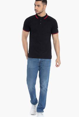Cotton Ribbed Trim Polo Shirt