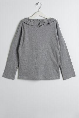 Gray Ruffle Collar T-Shirt