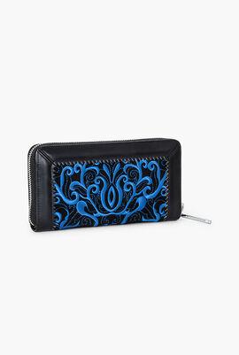 Deluxe Embroidered Long Zip Around Wallet