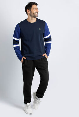 Striped Sleeves Fleece Sweatshirt