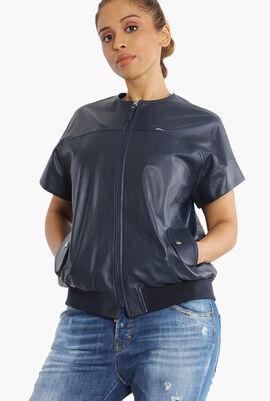 Short Sleeves Leather Jacket