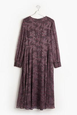 Checkered Long Sleeves Long Dress