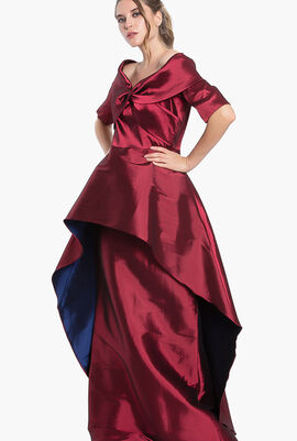 Twist Front Overlay Gown