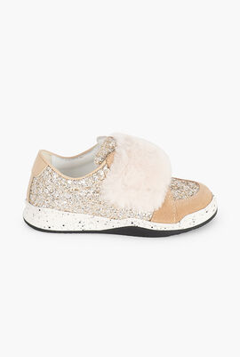 Glittered Fur Sneakers