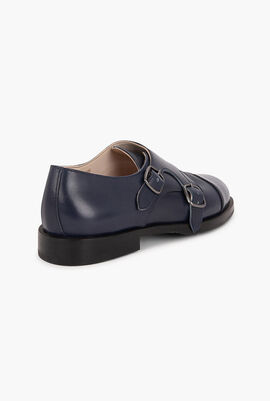 Double Buckle Leather Shoes