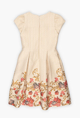 Flower Design Brocade Dress