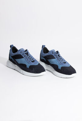 Suede And Mesh Sneakers