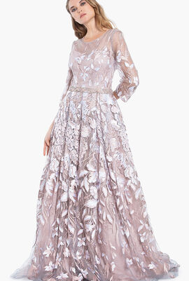 Floral Embroidery Long Evening Gown