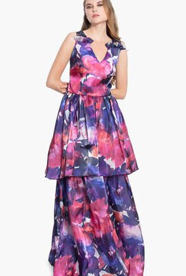 Floral Printed Long Gown