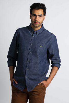 قميص من قماش البوبلين بقصة ضيقة باللون الأزرق الداكن