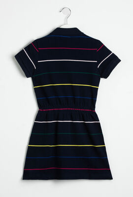 Elasticised Waist Striped Polo Dress