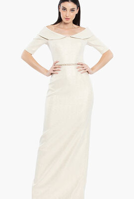 Off-Shoulder Stretch Gown