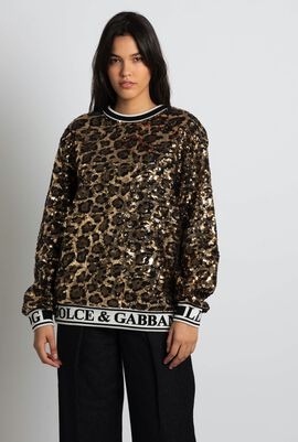 Leopard Sequin Sweatshirt