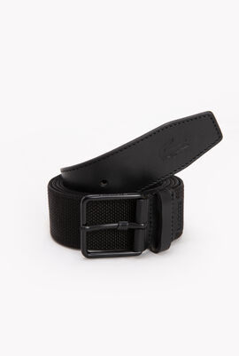Tongue Buckle Woven Fabric And Leather Belt
