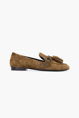 Suede Round-Toe Loafers