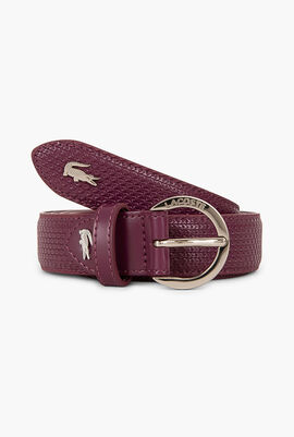 Engraved Curved Buckle Leather Belt