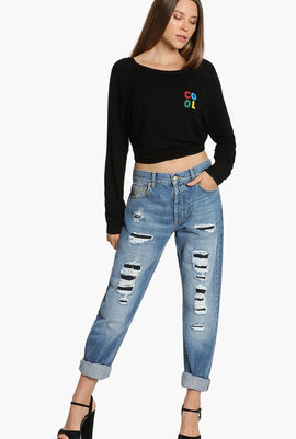 Distressed Skull Jeans