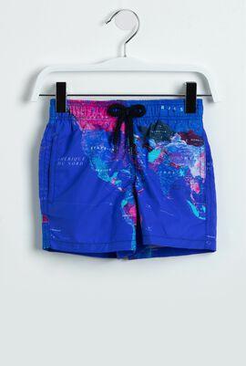 World Map Print Swim Trunks
