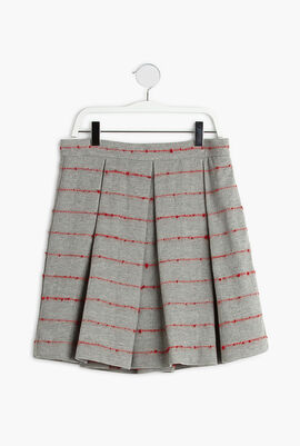 Striped Pleated Wool Skirt