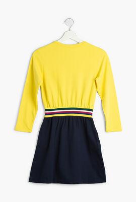 Striped Waist Colourblock Fleece Dress