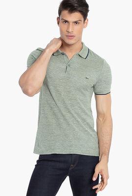 Short Sleeved Ribbed Collar Regular Fit Shirt