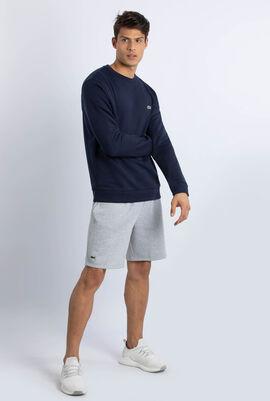 Crew Neck Contrast Accent Fleece Sweatshirt