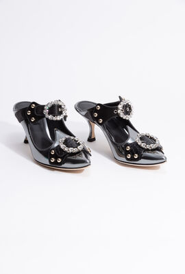 Black Trimmed Mules
