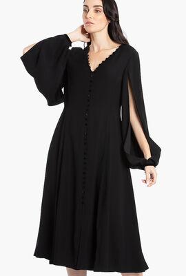 Buttoned V-Neck Dress
