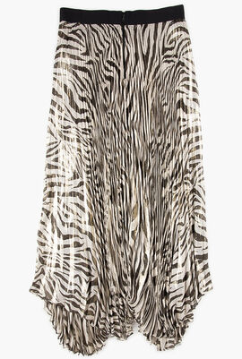 Zebra Print Pleated Skirt