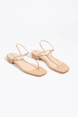Leather T-Bar Thong Strap Sandals