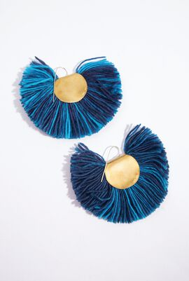 Sea Blue Hand Fan Earrings