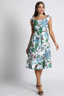 Wisteria Jacquard Flared Dress