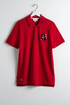 Regular Fit LCST Lettering Petit Piqué Polo Shirt