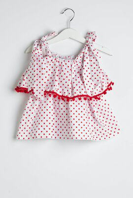 Red Dots Frill Blouse