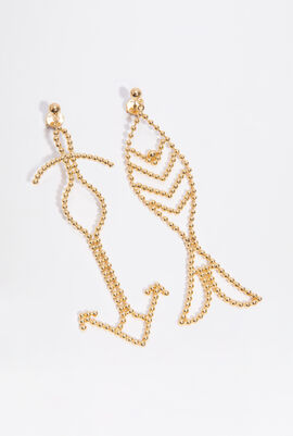 Beaded Fish Statement Gold Earrings