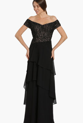 Off-Shoulder Sequined Gown