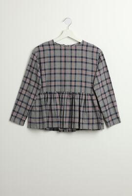 Checkered Print Long Sleeves Dress