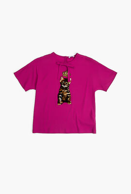 Embroidered Cat and Crown T-shirt