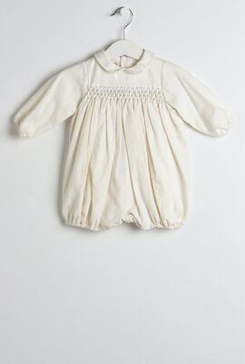 Cream & Blue Smocked Baby Onesie