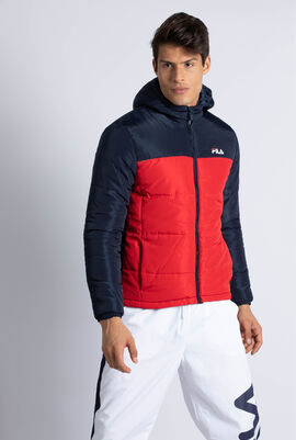 Colour Block Quilted Logo Hooded Jacket